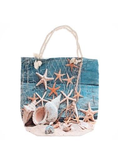 Bebebebek Baskılı Deniz Yıldızı Desenli Plaj Çantası Renkli